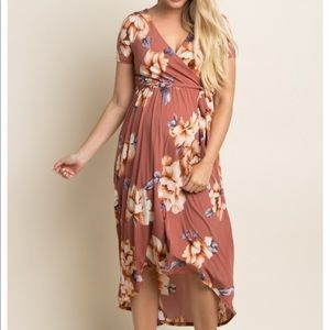 PinkBlush Rust Floral Hi-low faux wrap Dress